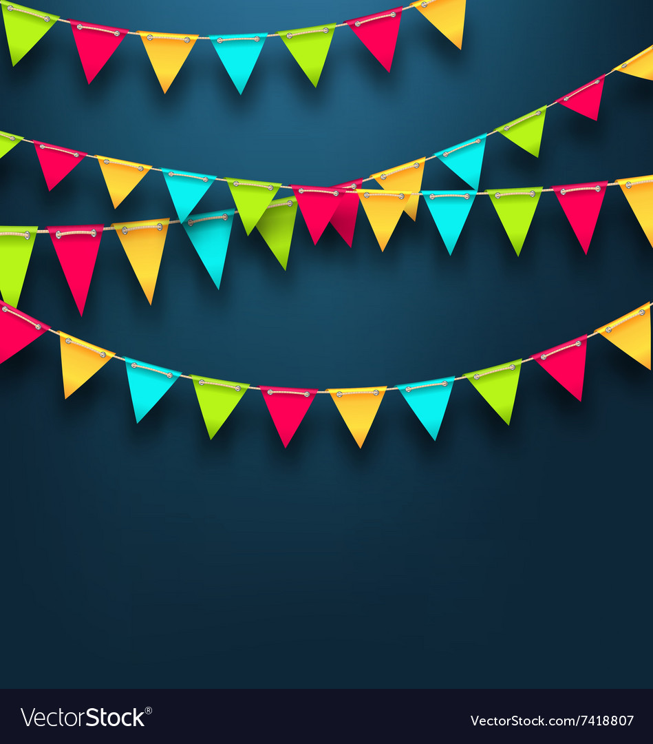 Party Dark Background with Bunting Flags for vector image