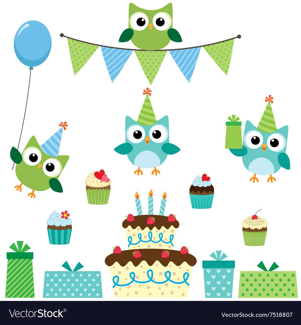 Party owls blue set vector image