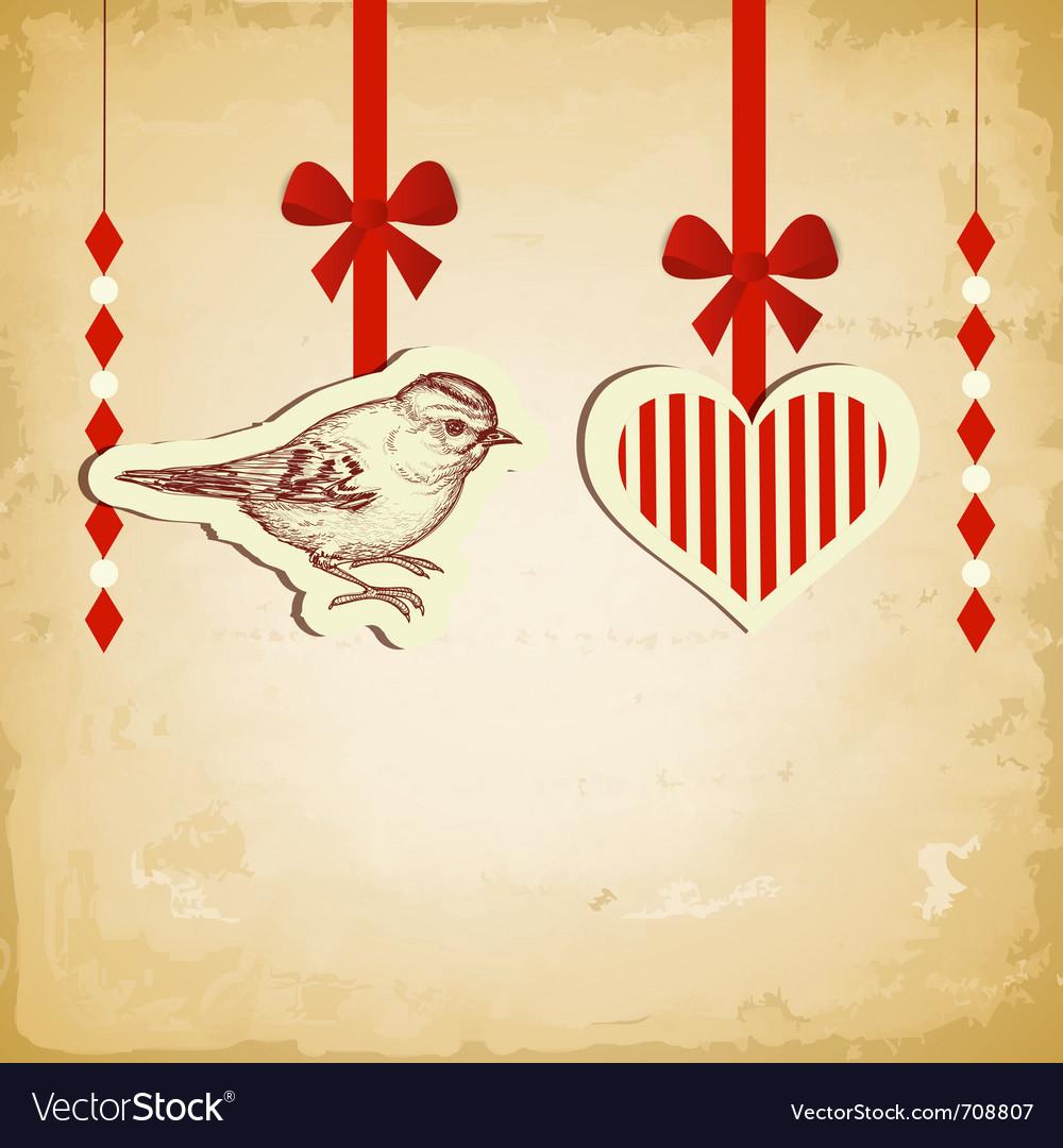 Vintage love card vector image