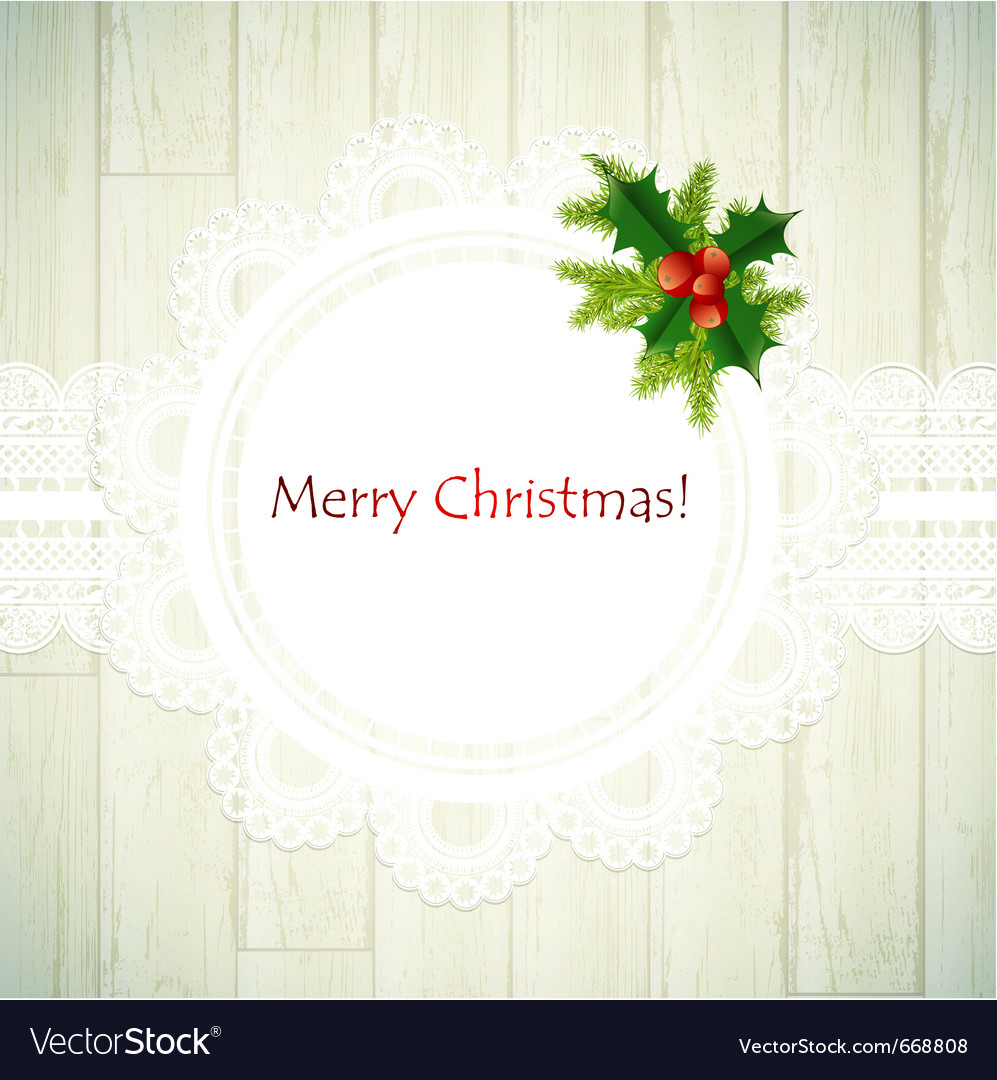 Christmas lace frame with green fir vector image