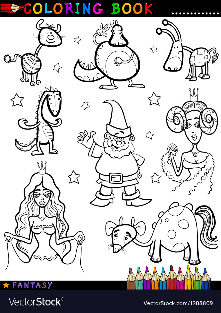 Fantasy Characters for coloring book vector image