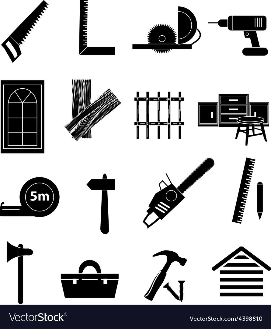 Carpentry icons set vector image