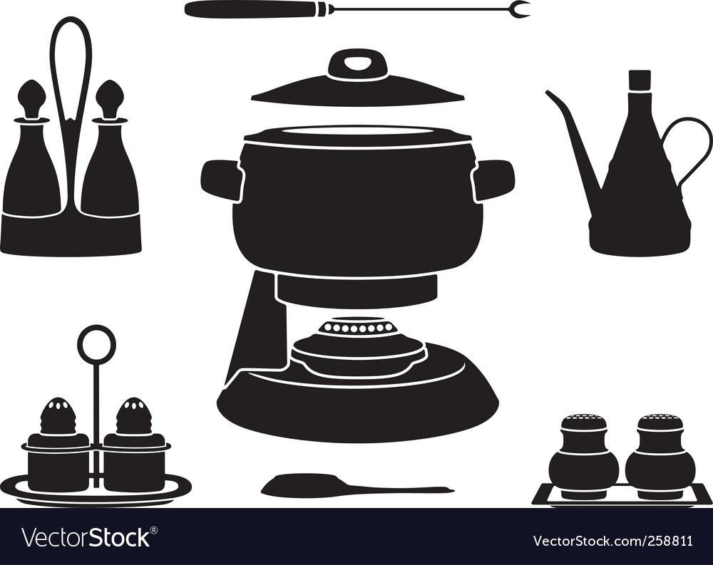 Fondue pot vector image