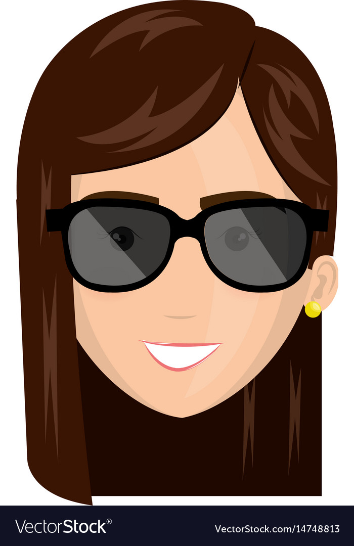 Beautiful and young woman head with sunglasses vector image