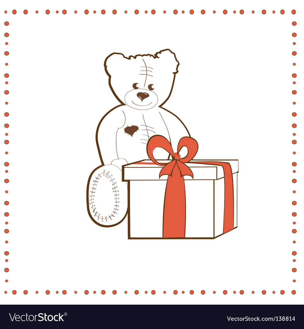 Bear with gift box vector image
