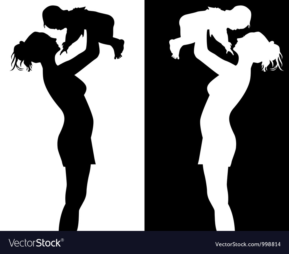 Love The Mother Child Silhouette: Black And White Silhouettes Of Mother And Child Vector Image