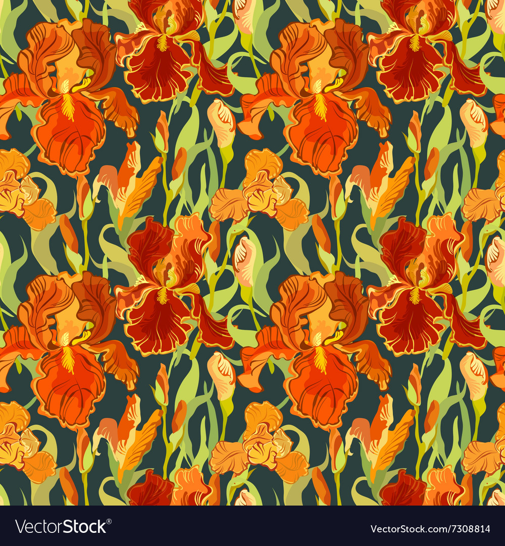 Floral seamless pattern red iris flower royalty free vector floral seamless pattern red iris flower vector image izmirmasajfo Images