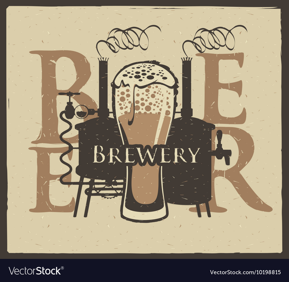 Brewery with a glass of beer and brewing machine vector image