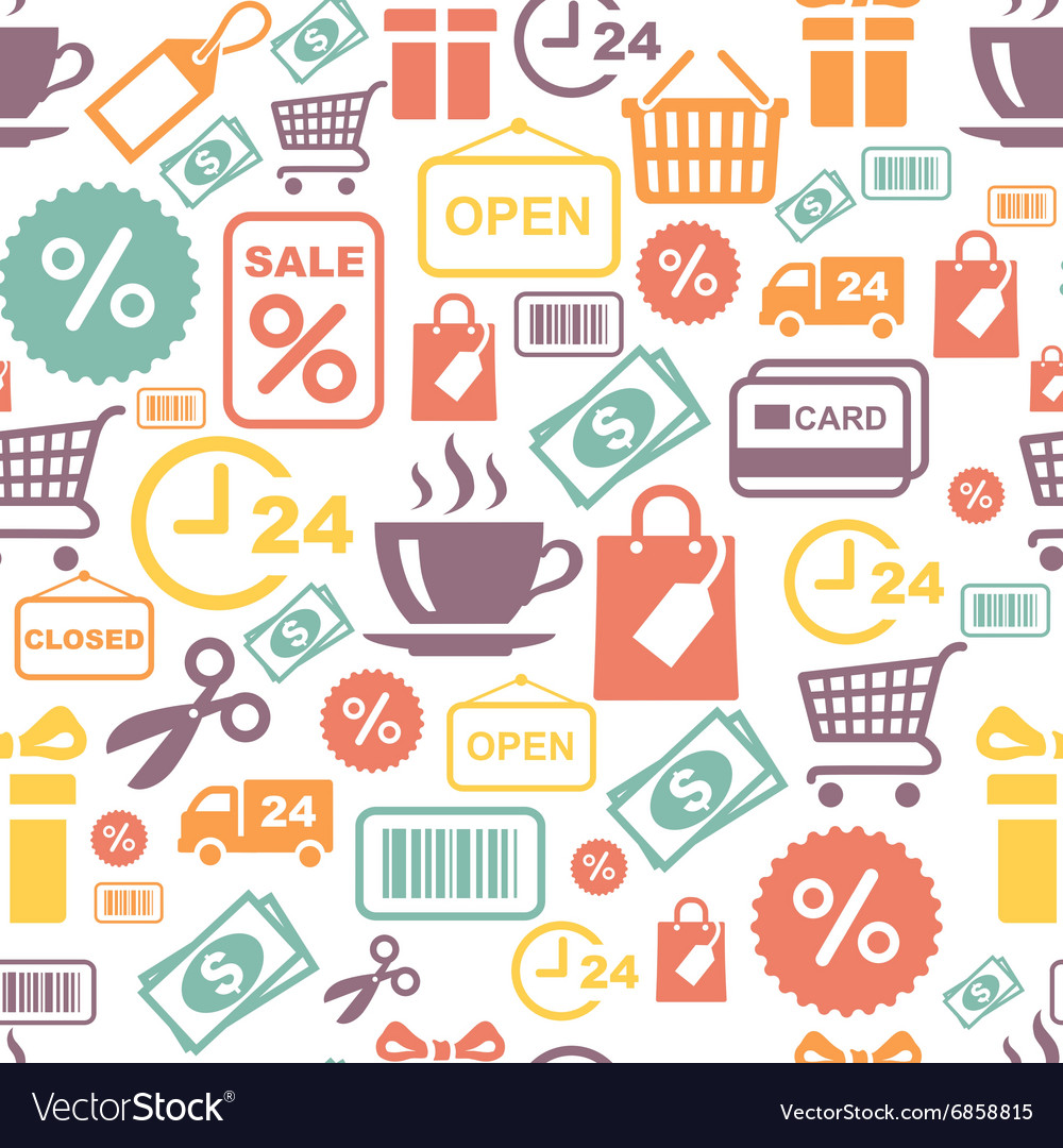 Seamless background with colorful shopping vector image