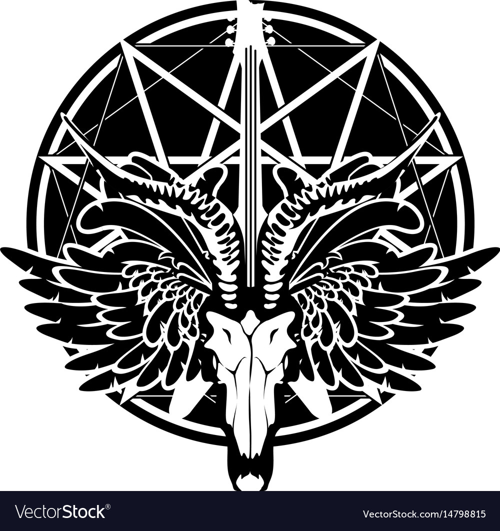 With guitar skull of goat and wings vector image