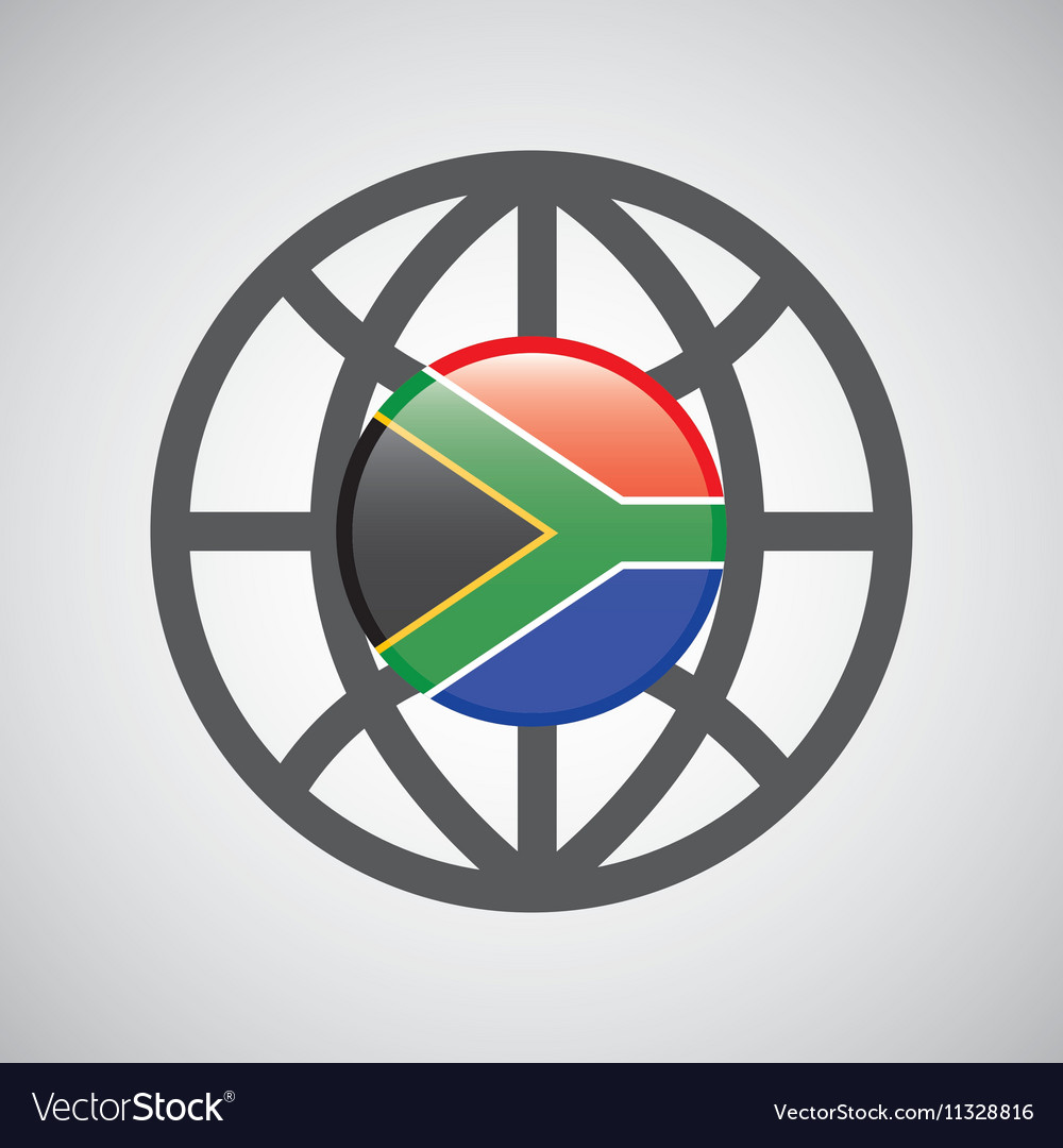 Globe sphere flag southafrica country button vector image