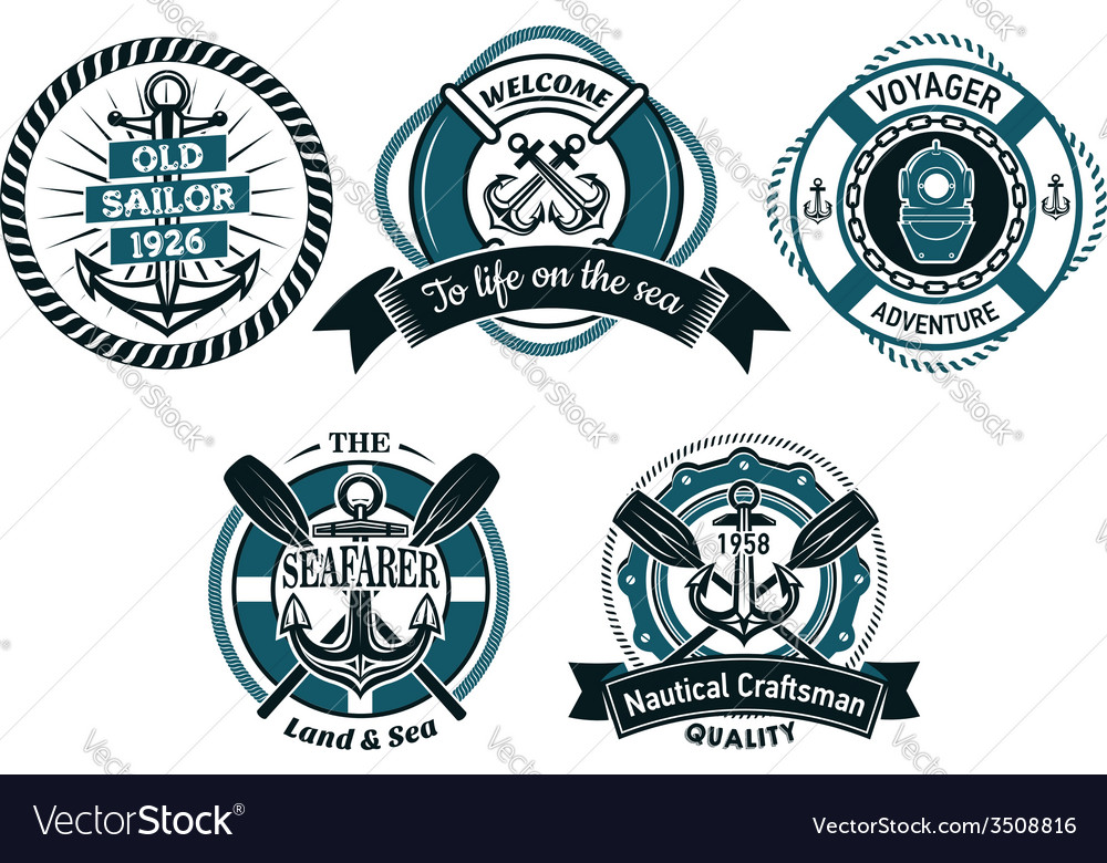 Seafarer and marine adventures emblems vector image