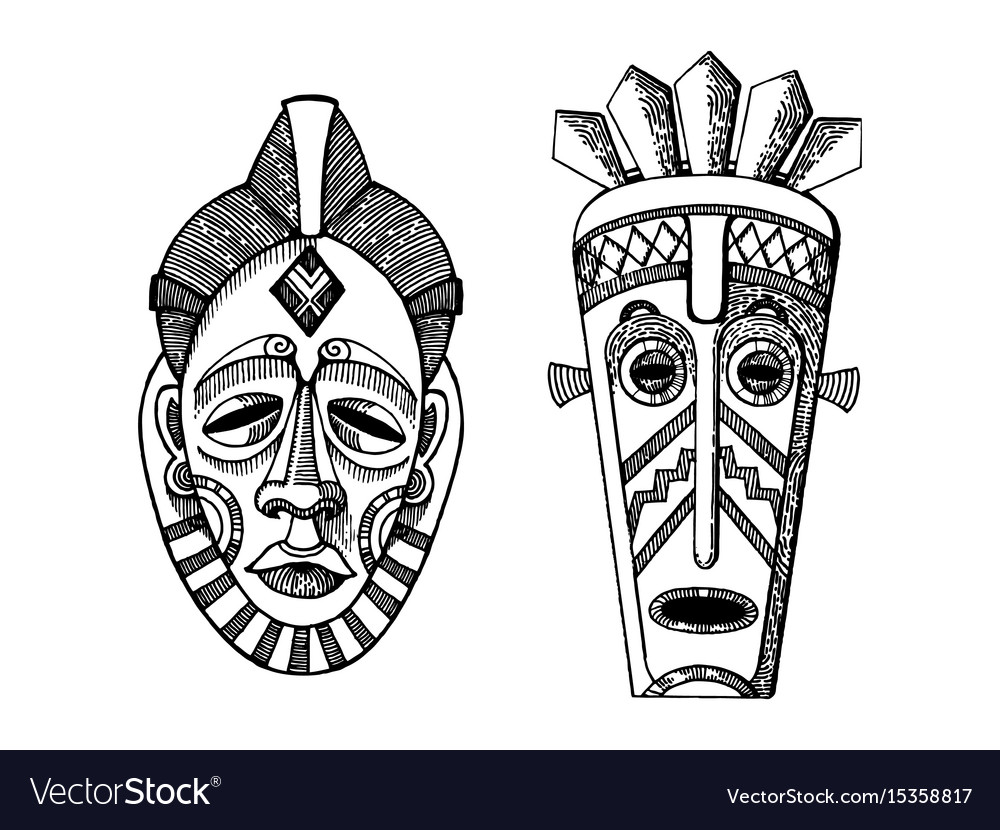 African masks of savages engraving style vector image
