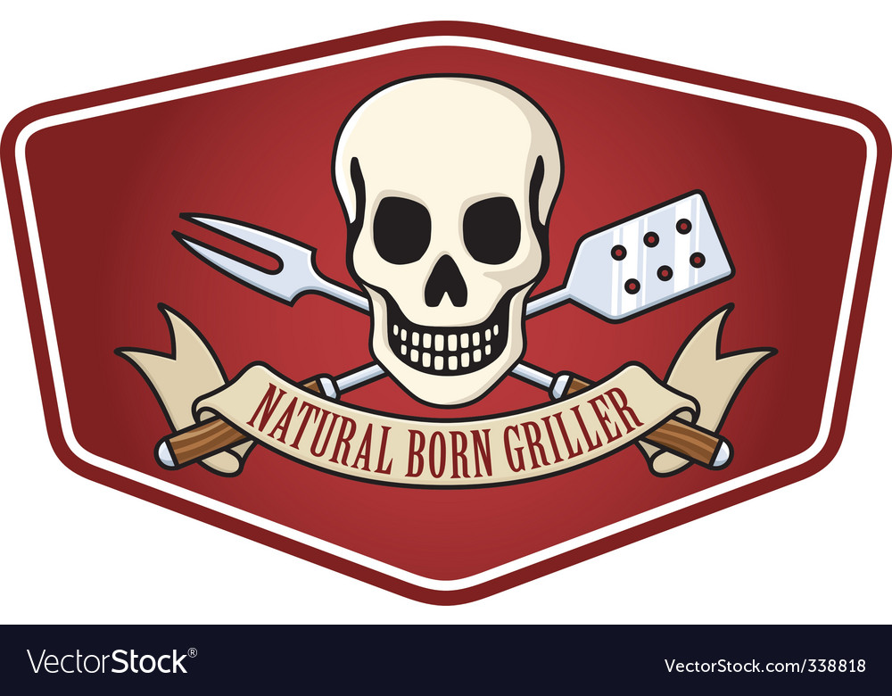 Pirate BBQ emblem vector image