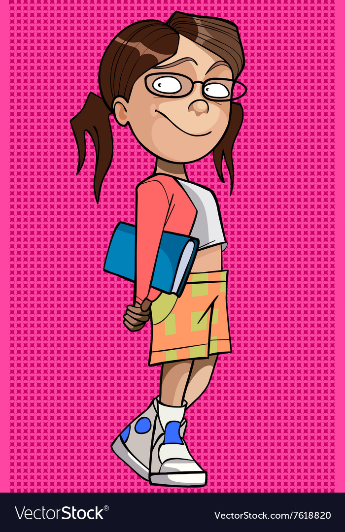 Cartoon girl in glasses with a book under his arm vector image