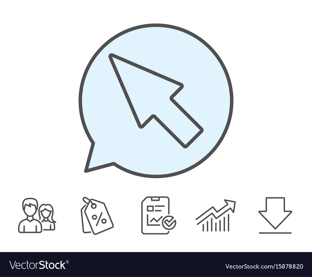 Mouse cursor line icon pointer sign vector image