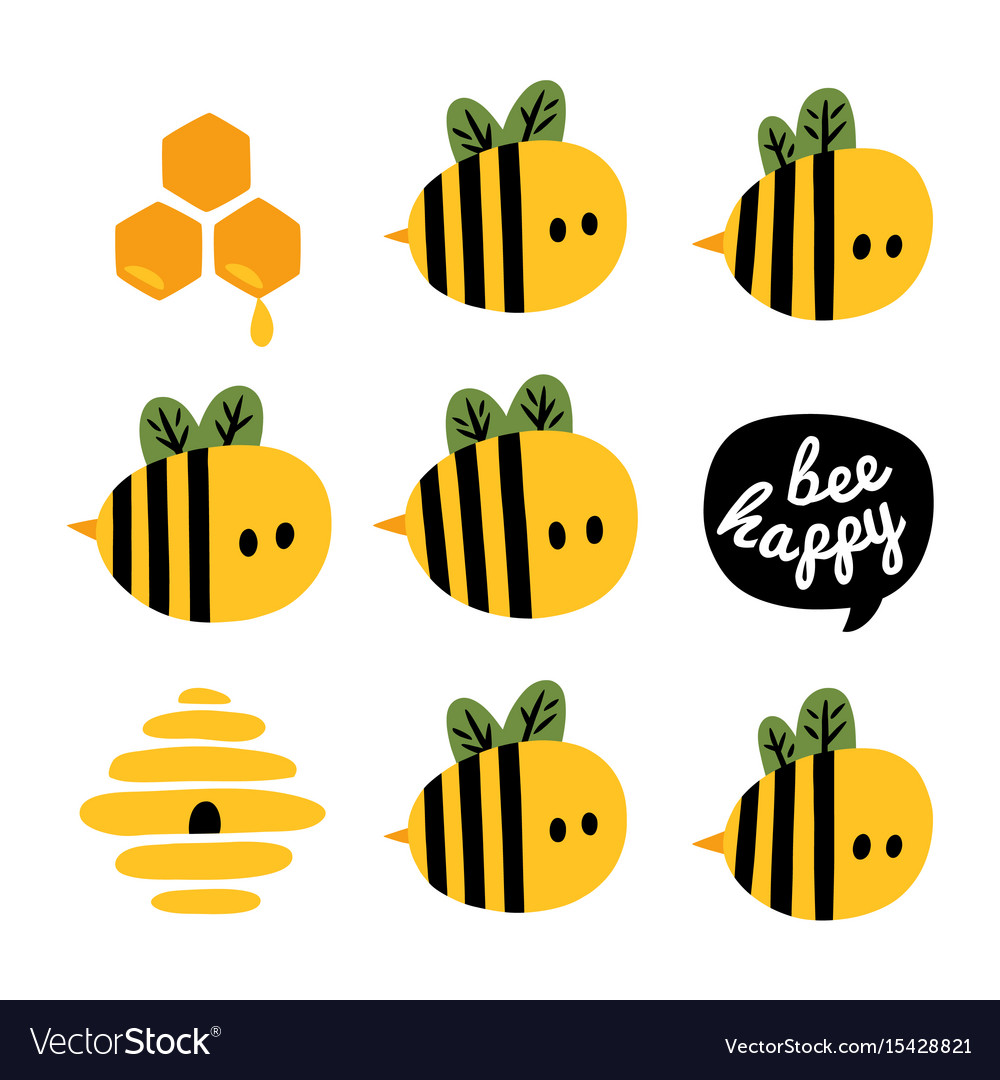 Greeting card with cartoon bees and beehive vector image