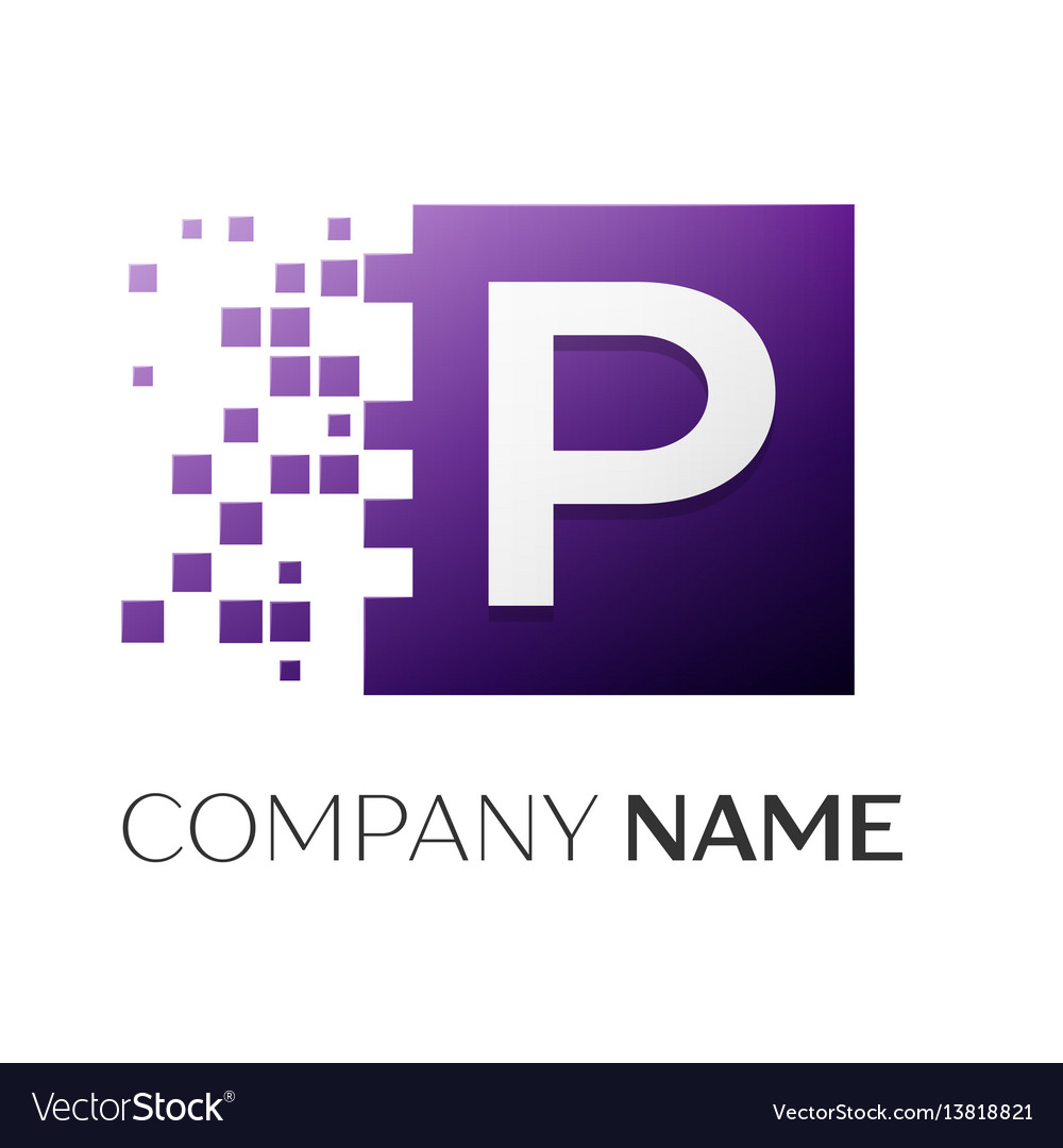 Letter p logo symbol in the colorful square with vector image