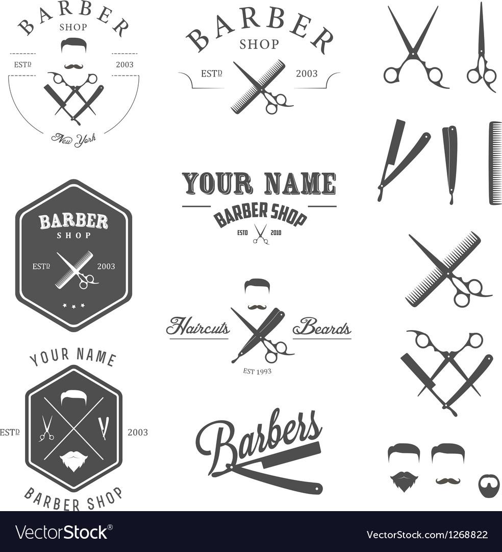 Set of vintage barber shop design elements vector image