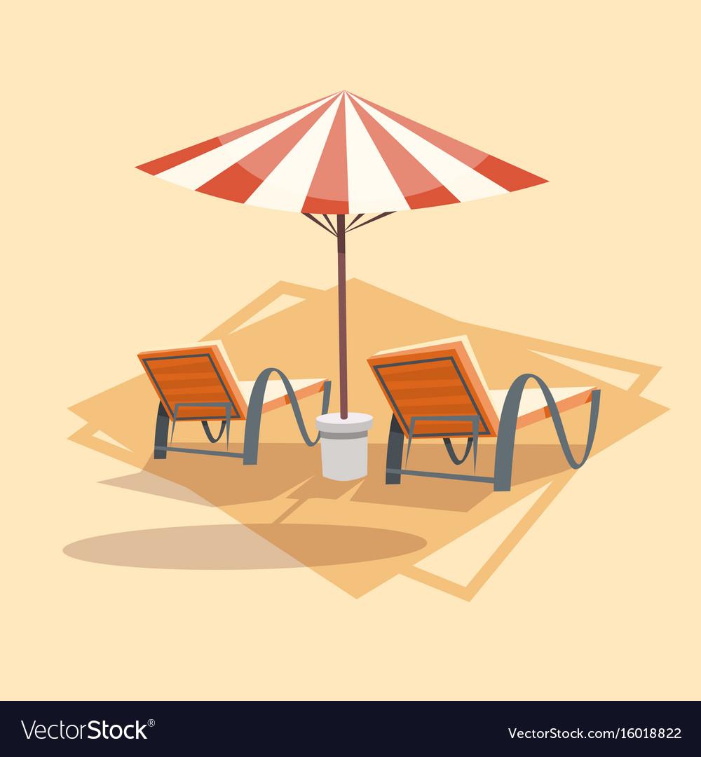 Lungers under umbrella icon summer sea vacation vector image