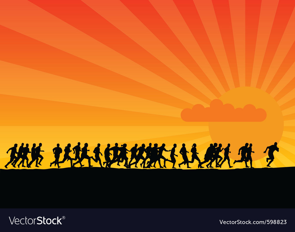 Silhouettes of runners vector image
