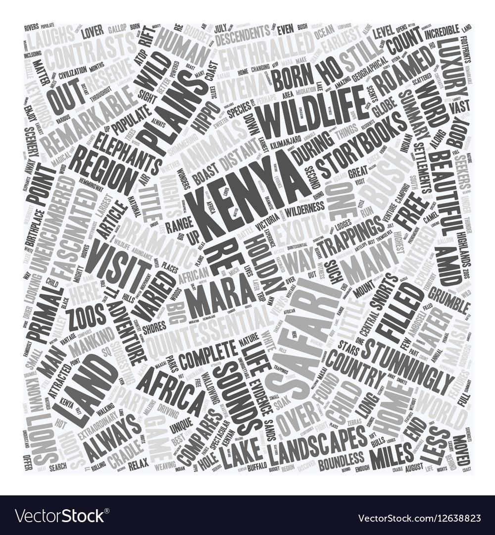 Kenya The Land Where Safari Was Born text vector image