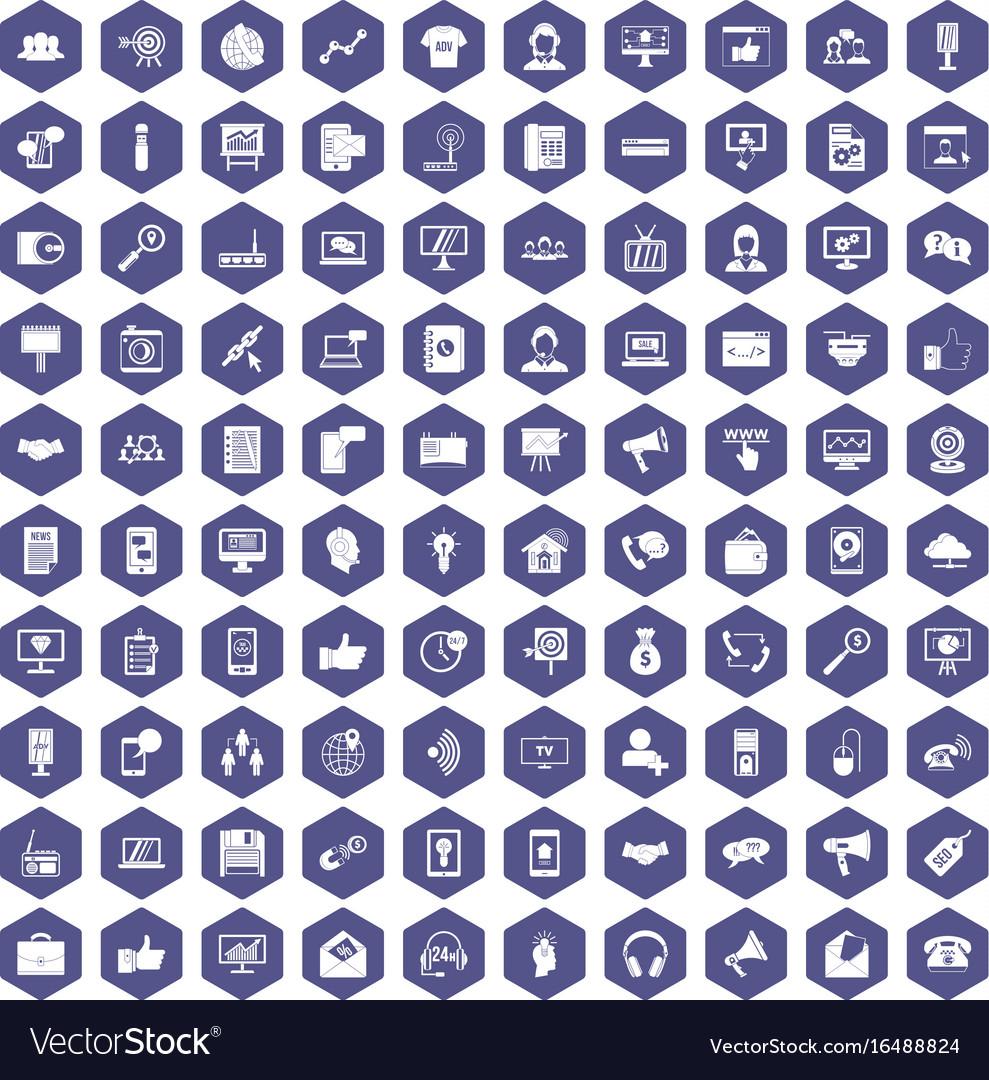 100 help desk icons hexagon purple vector image
