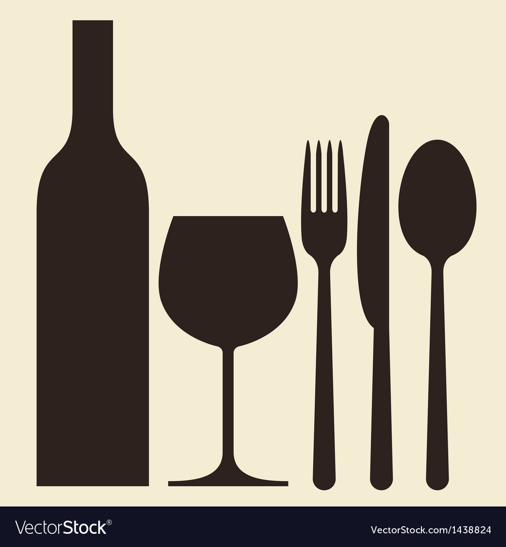 Bottle wineglass and cutlery vector image