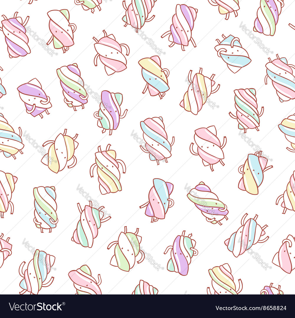 Marshmallow characters pattern vector image