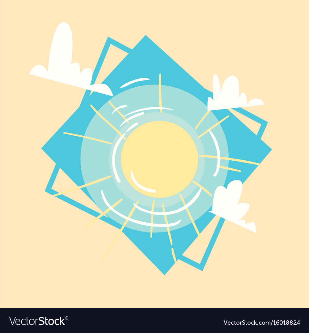 Sun icon summer sea vacation concept summertime vector image