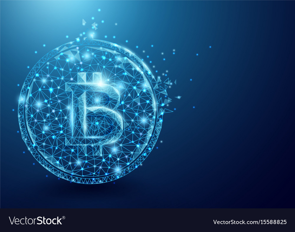 Wireframe bitcoin mesh from a starry sky vector image