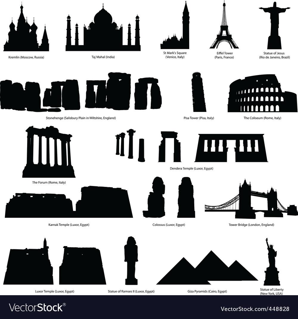 Landmarks silhouette set vector image