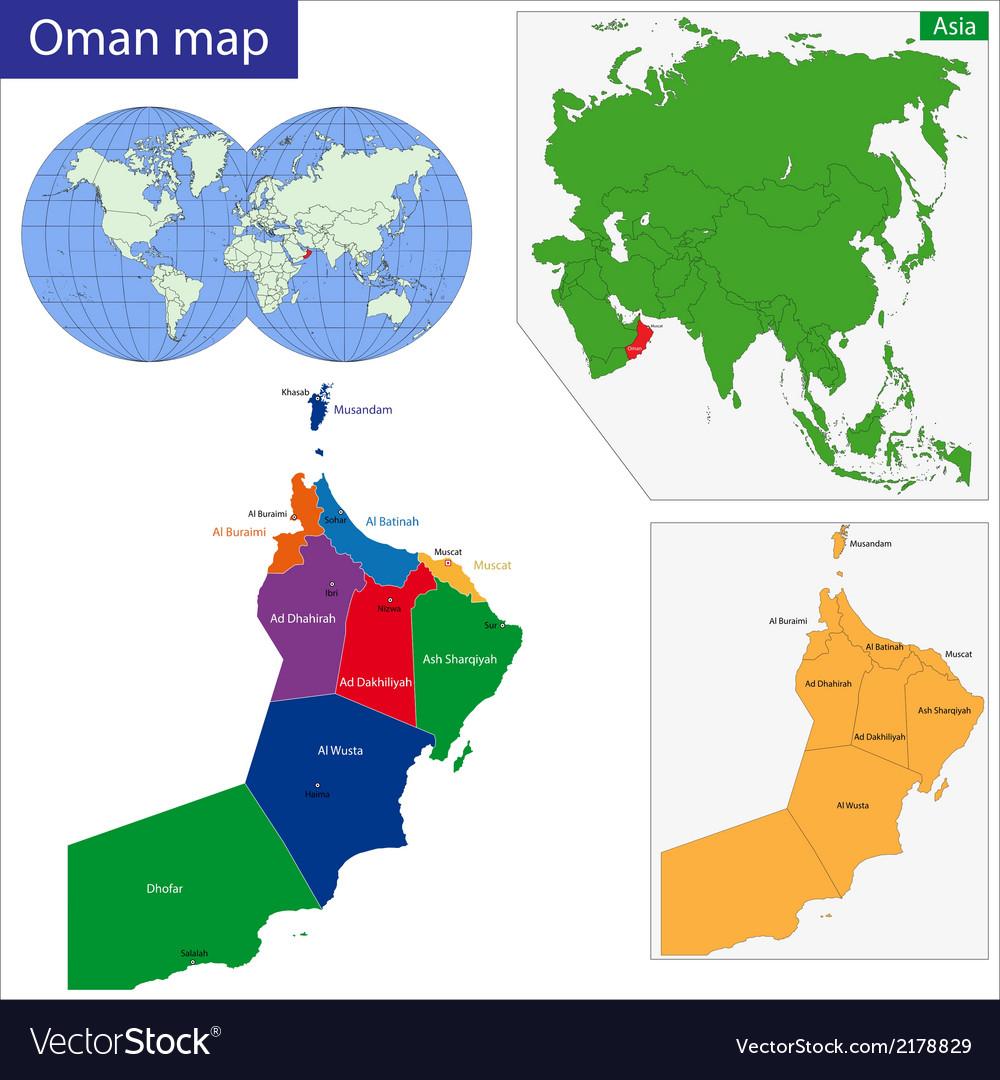 Oman Map Royalty Free Vector Image VectorStock - Oman in the world map