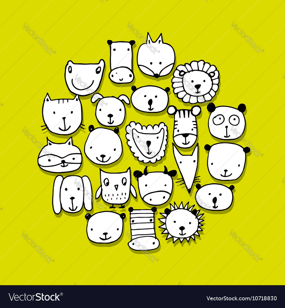 Set of animal faces sketch for your design vector image