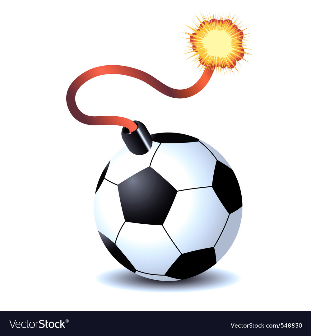 Soccer ball bomb isolated over white background vector image