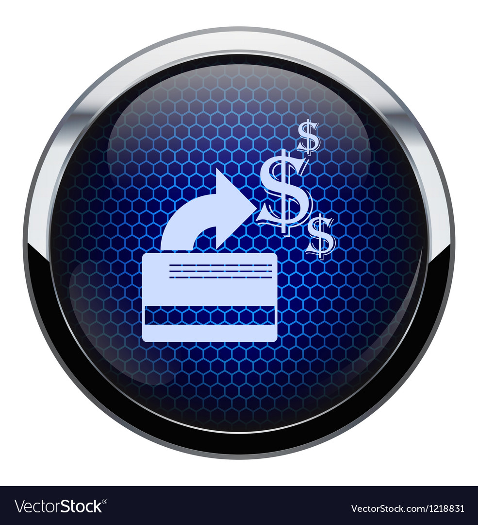 Blue honeycomb credit card icon vector image