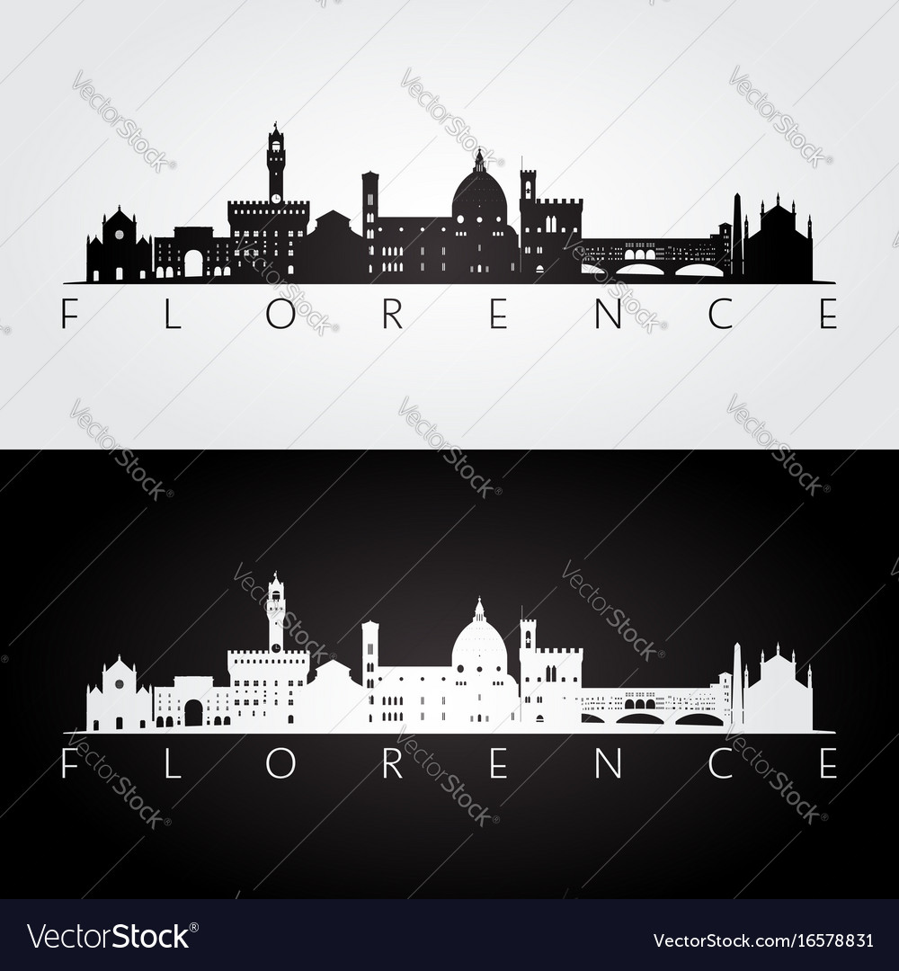 Florence skyline and landmarks silhouette vector image
