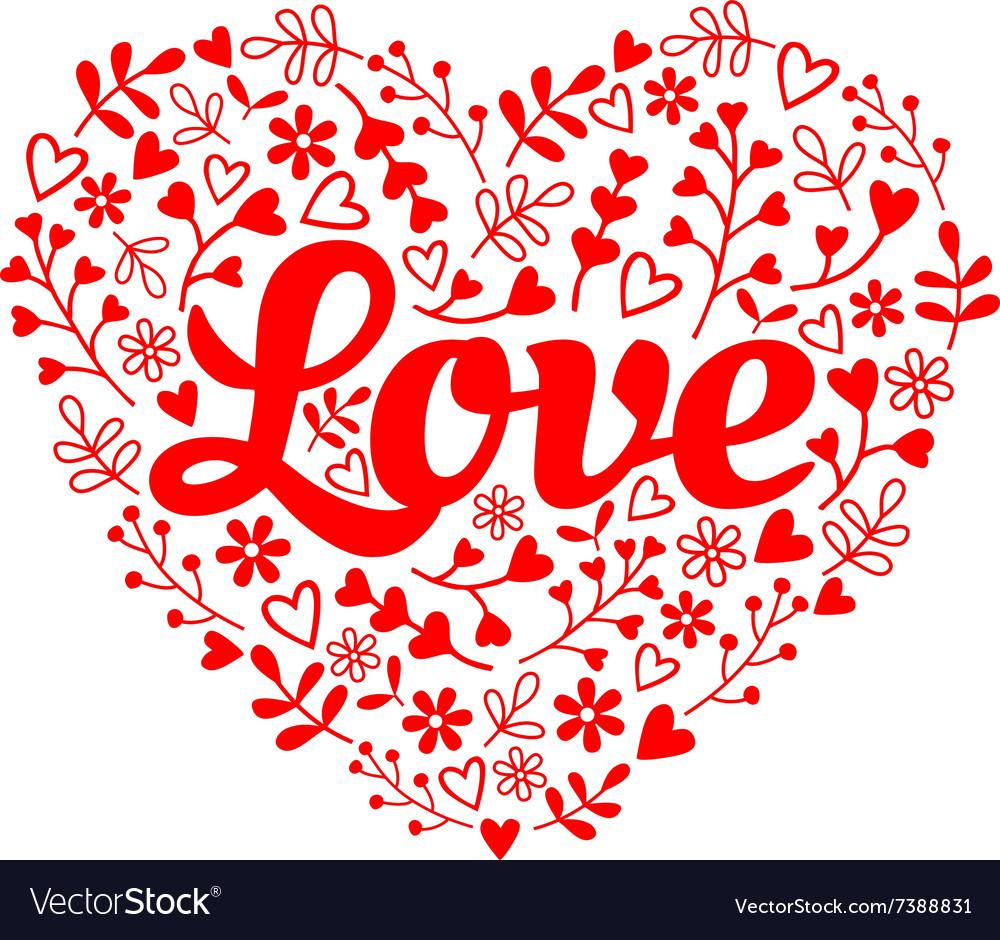 Love red flower heart vector image