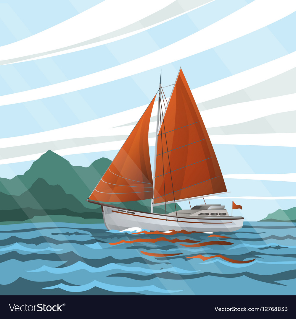 Stylized seascape with the sailboat floating on vector image