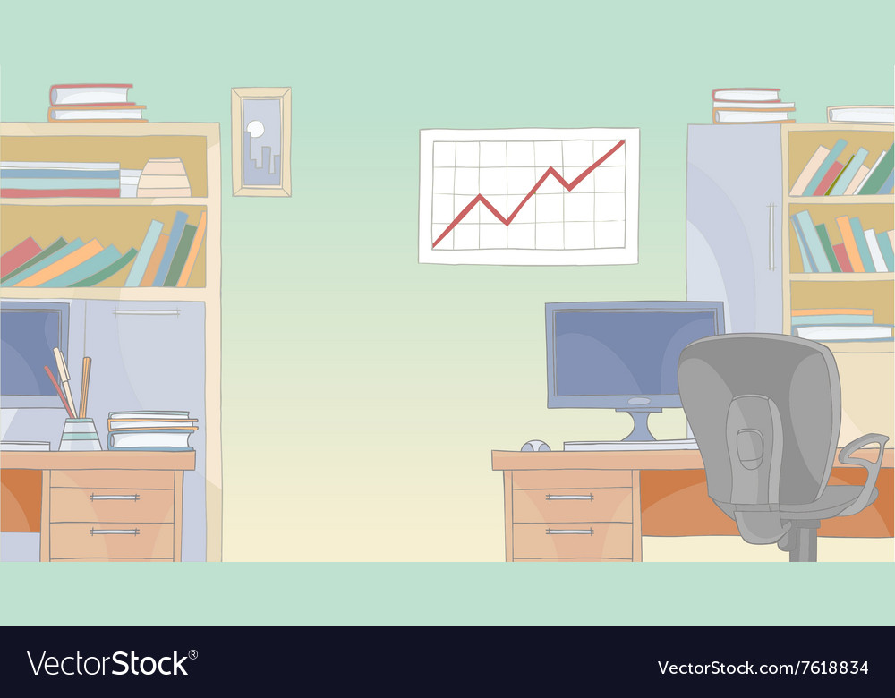 Cartoon office interior with furniture vector image
