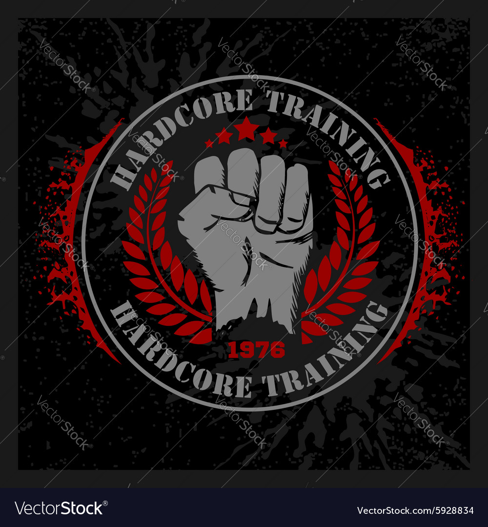 Hardcore training - Fist and wreath vintage label vector image