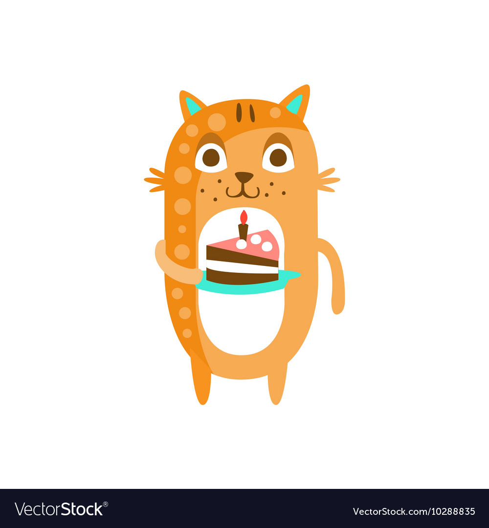 Cat With Party Attributes Girly Stylized Funky vector image