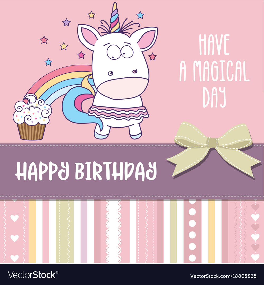 Happy birthday card with lovely baby girl unicorn vector image bookmarktalkfo Choice Image