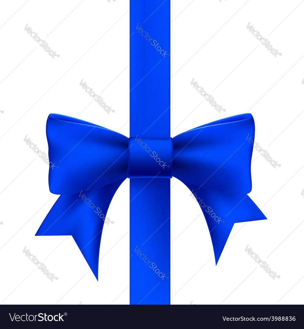 Blue ribbon with a bow vector image