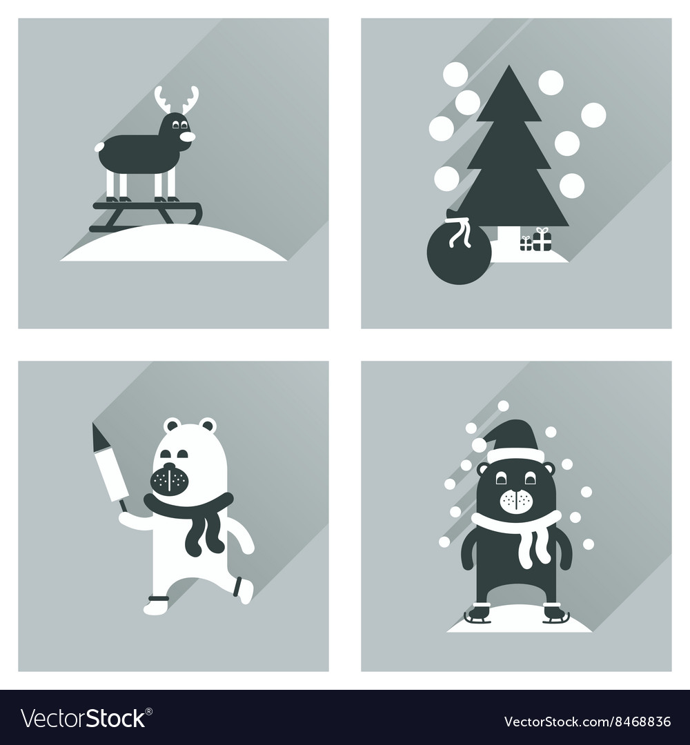 Concept of flat icons with long shadow winter