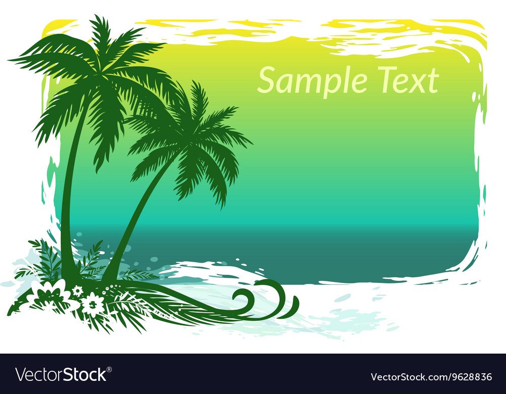 Palms Flowers and Sea Landscape vector image