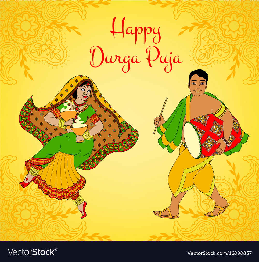 Durga puja greeting card royalty free vector image durga puja greeting card vector image kristyandbryce Images