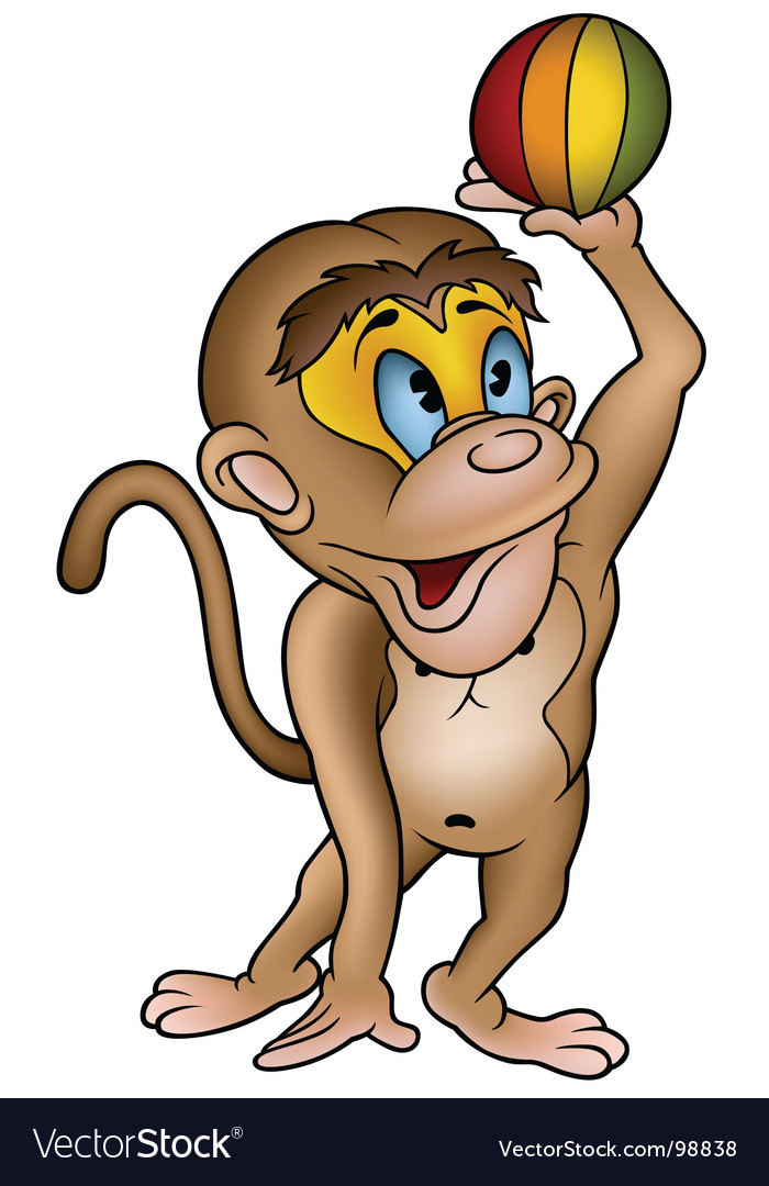Monkey and ball vector image