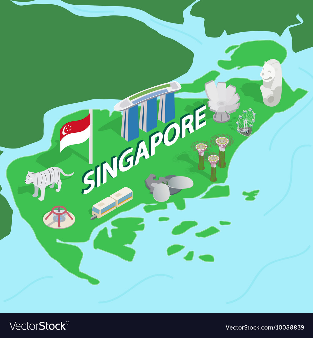 Singapore Map Isometric D Style Royalty Free Vector Image - Singapore map vector