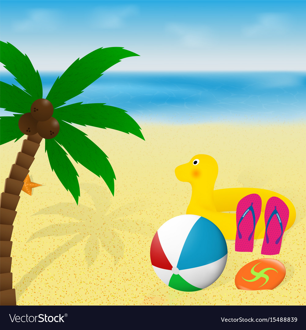 Summer vacation banner design palm tree vector image